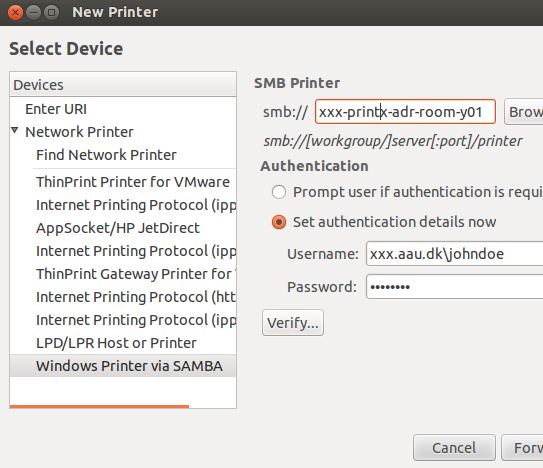 Add / Install printer om your computer